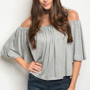 Tops - Gray Flowy Off Shoulder Top